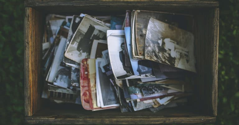 A box of old photographs and other memories.