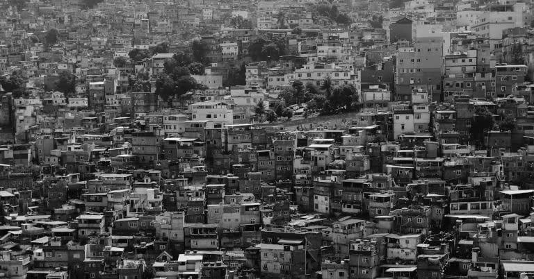 A poor city scene.