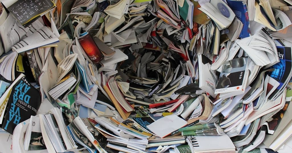 A cluttered storm of books.