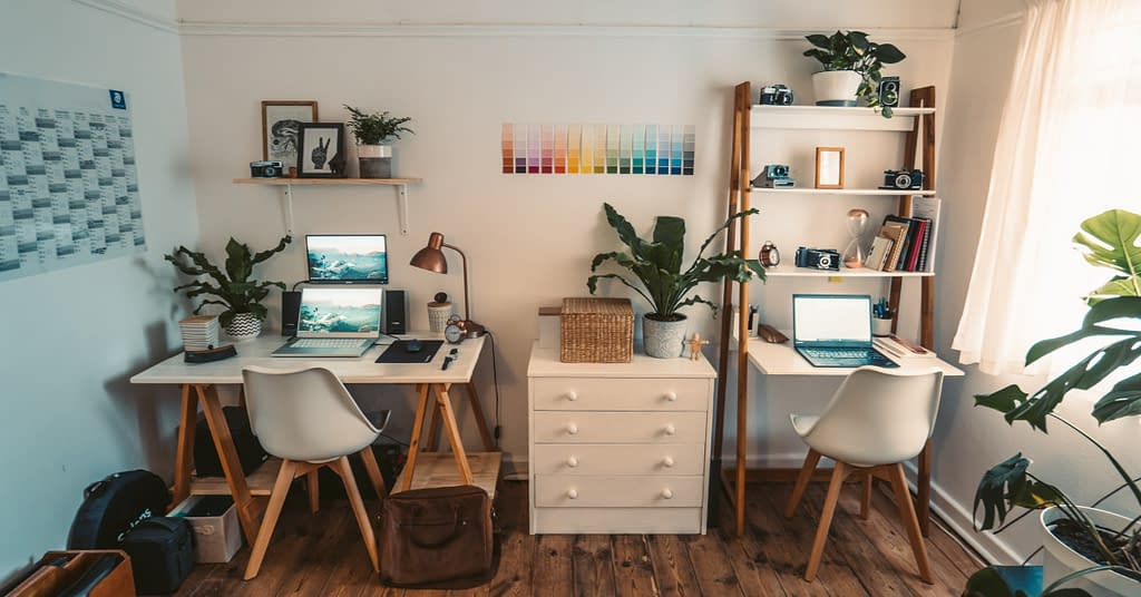 Declutter your home office with appropriate storage.