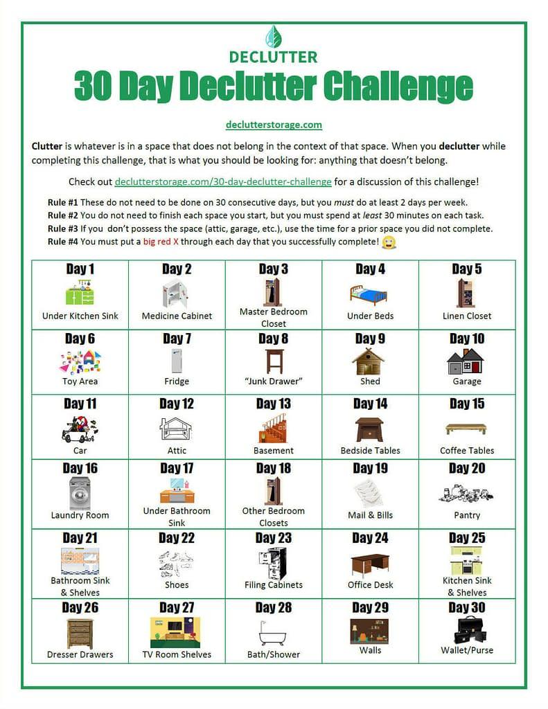 30 Day Declutter Challenge Printable Checklist