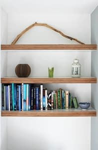 Floating Shelves with Books and Plants